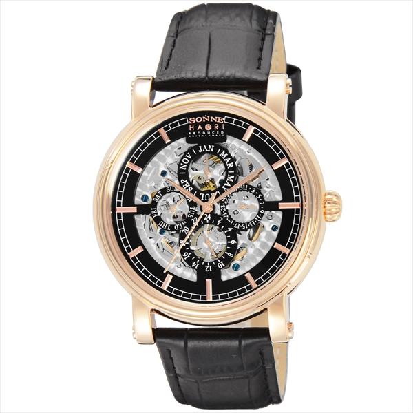 【返品OK】ゾンネ SONNE 時計 腕時計 メンズ ゾンネ 時計 メンズ SONNE H011PG HAORI 自動巻 腕時計 ウォッチ ブラック
