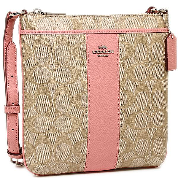 coach crossbody bag outlet 9t5p  COACH Outlet Bag Shoulder Bag Coach F52856 SIGPK Double C Logo Ctriped  Crossbody Light Khaki /