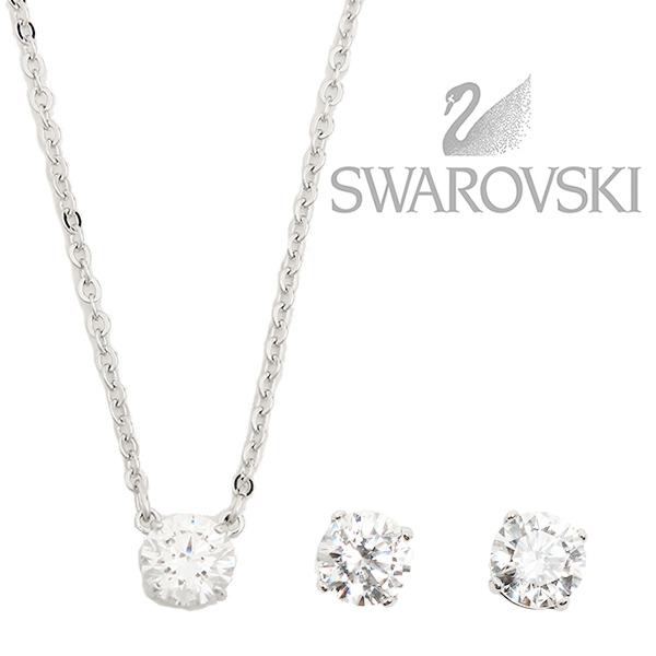 Swarovski SWAROVSKI necklace pierced earrings Swarovski necklace Lady s  SWAROVSKI 5113468 ATTRACT SET ROUND pendant + pierced earrings set silver    is clear 53074caae8