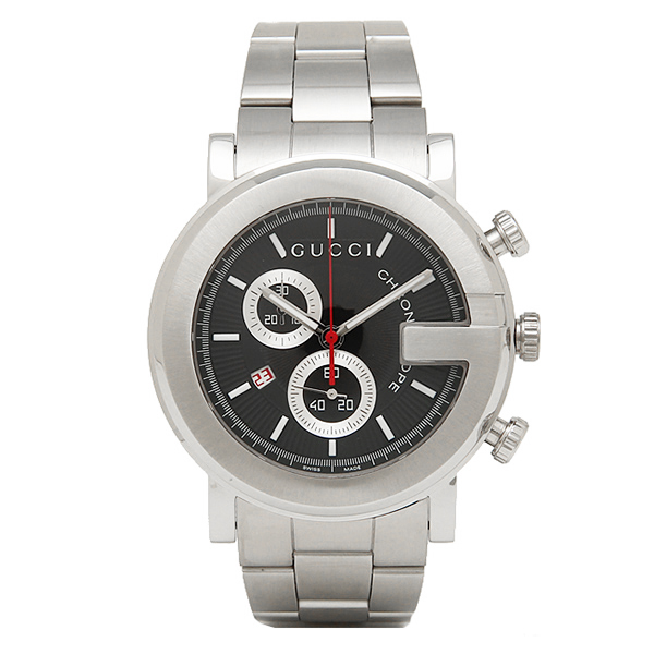 25308284f48 Gucci GUCCI clock watch Gucci clock men watch GUCCI YA101309 G round chronograph  stainless steel black   silver
