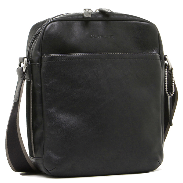 Coach COACH bags outlet F70813 SV/BK heritage leather flight bag / shoulder bag black 616]