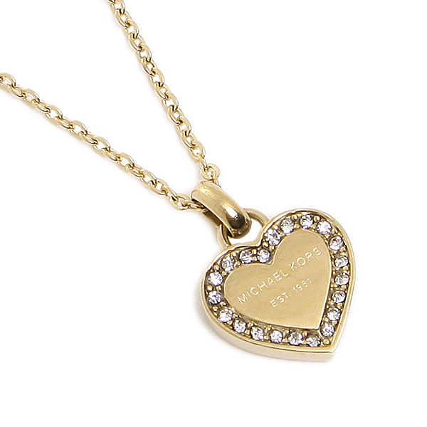 tone gold com kors crystal logo and necklace l amazon quot michael dp pendant