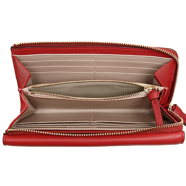 Chloe CHLOE 3P0283 889 BCZ GEORGIA LONG ZIPPED WALLET wallets purse PAPRIKA RED
