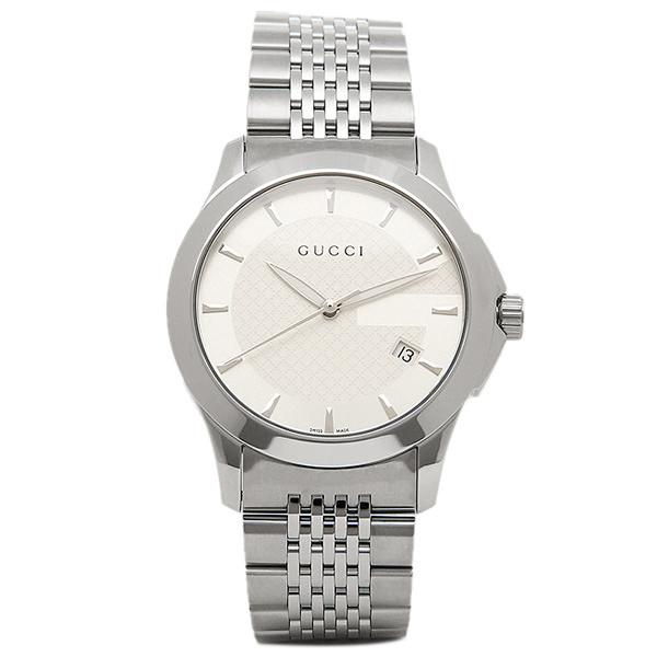 【期間限定ポイント5倍】【返品OK】グッチ GUCCI 時計 腕時計 メンズ YA126401 Gタイムレス ホワイト/シルバー ウォッチ WATCH
