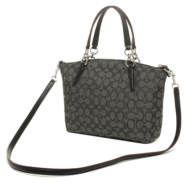 coach bag black and gray 4k0z  Coach bags outlet COACH F36625 SVDK6 signature small Kelsey 2-WAY bag smoke  Black /