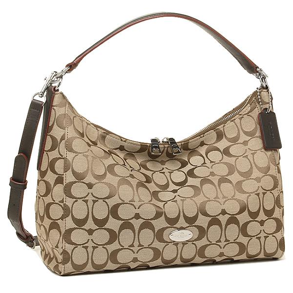 Coach Bags Outlet F36716 Skhma Luxury Signature Cotton E W Hobo 2 Way Bag Khaki Mahogany