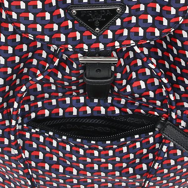普拉达包PRADA 1BZ032 2ADJ F0RAL TESSUTO STAMPATO帆布背包背包BLU DIS.M.OTTAGONO