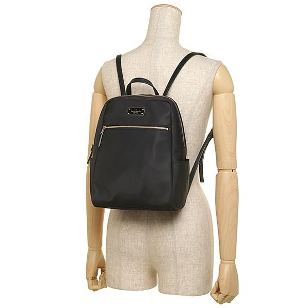 凯特黑桃帆布背包奥特莱斯KATE SPADE WKRU3525 001女子的黑色