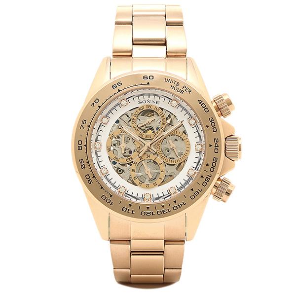 ゾンネ 時計 メンズ SONNE S159PGW HAORI ハオリ 自動巻き 腕時計 ウォッチ ピンクゴールド/ホワイト