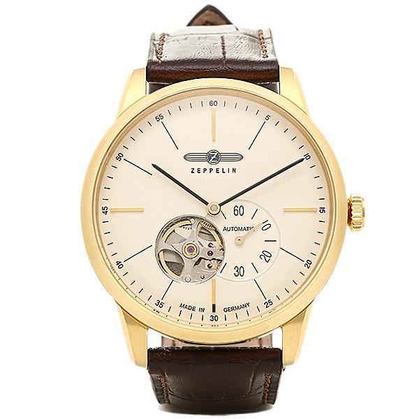 【返品OK】ツェッペリン 時計 メンズ ZEPPELIN 73621 FLAT LINE フラットライン 7362-1 自動巻き 腕時計 ウォッチ ゴールド/ブラウン