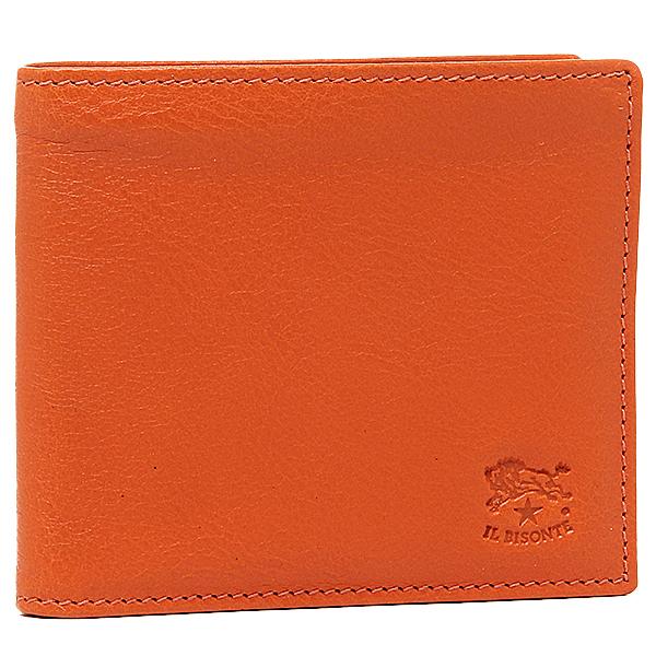 【2時間限定ポイント10倍】イルビゾンテ 財布 IL BISONTE C0817 P 166 メンズ 二つ折り財布 ORANGE