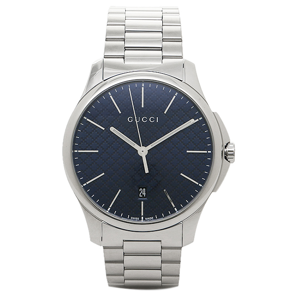 Gucci clock men GUCCI YA126316 G thymeless watch watch silver / blue