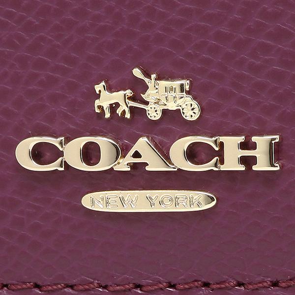코치 지갑 아울렛 COACH F52689 IMPLU 크로스그레인레자스림엔베로프장 지갑 플럼