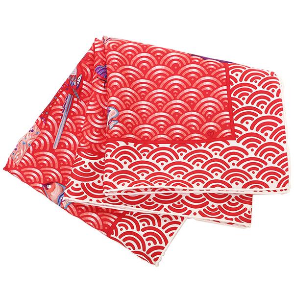 爱马仕围巾HERMES Carres他90cm花开花的帆船女士红色/长卷毛狗·蓝色
