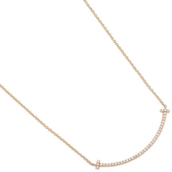 【9時間限定ポイント10倍】ティファニー ネックレス アクセサリー TIFFANY&Co. 34684421 Tスマイル ミニ ダイヤモンド 18K ペンダント ローズゴールド