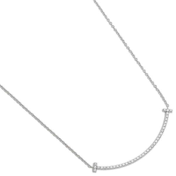 ティファニー ネックレス アクセサリー TIFFANYCo. 34684448 Tスマイル ミニ ダイヤモンド 18K ペンダント ホワイトゴールド