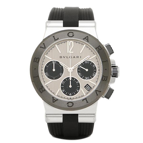 【4時間限定ポイント10倍】ブルガリ 時計 メンズ BVLGARI DG37C6SCVDCH ディアゴノ ラバー クロノグラフ 腕時計 ウォッチ シルバー/ブラック