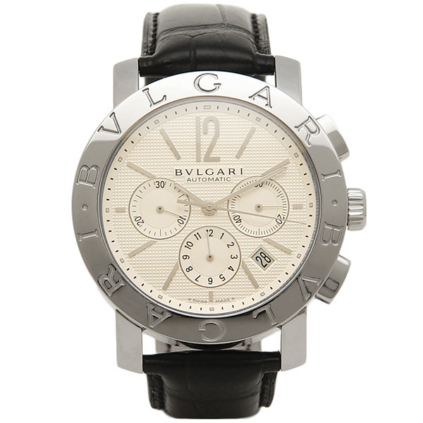 【4時間限定ポイント10倍】ブルガリ BVLGARI 時計 腕時計 メンズ BVLGARI ブルガリブルガリ オートマチック クロノグラフ アリゲーターレザー ブラック/ホワイト メンズ BB42WSLDCH ウォッチ 腕時計 シリアル有