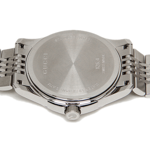 gucci 126 4. gucci gucci clock watch ya126406 silver brown 126 4 t