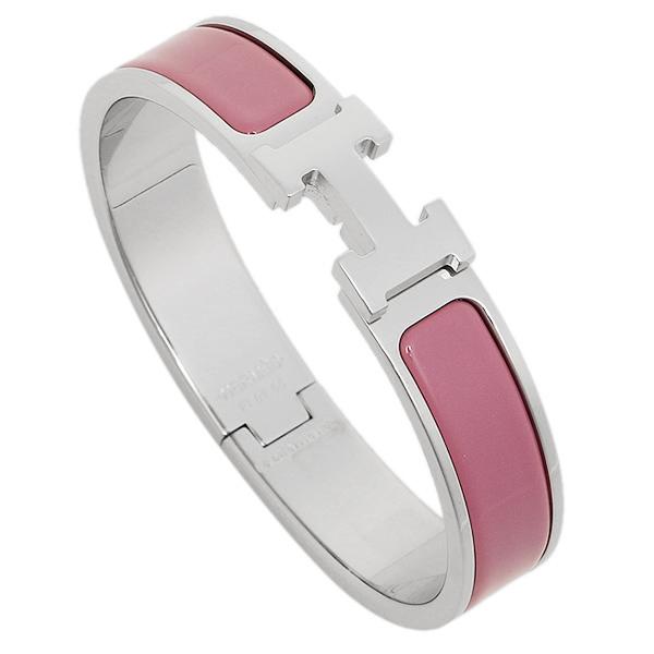 Hermes Bracelet Lady S 700001fp Clic Click H Bangle Silver Rose Velours