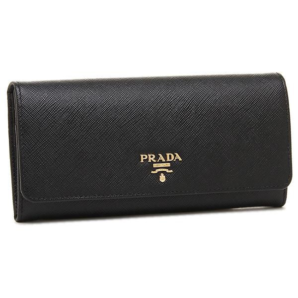 19121b23cc83 Prada wallet Lady's PRADA 1MH132 QWA F0002 SAFFIANO METAL ORO long wallet  NERO ...
