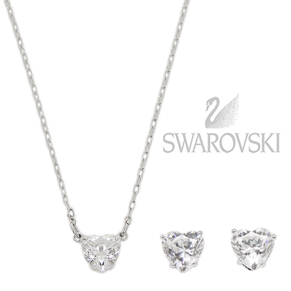 Swarovski necklace pierced earrings set SWAROVSKI 5218461 ATTRACT HEART SET  necklace pendant Lady s silver de471e1992
