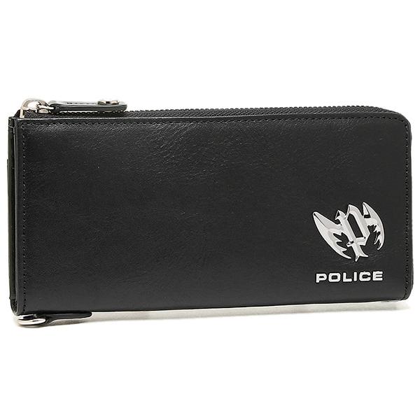 【4時間限定ポイント5倍】ポリス 財布 POLICE PLC122 ブローチ メンズ 長財布 BLACK