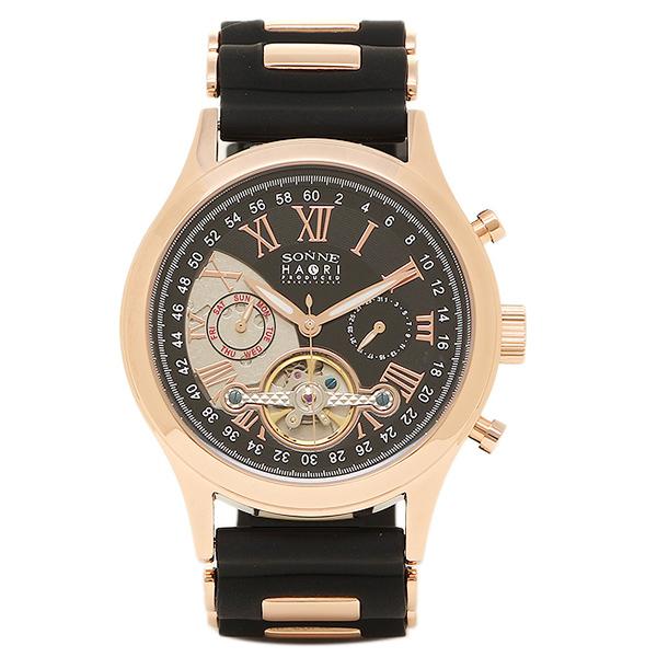 【返品OK】ゾンネ 腕時計 SONNE H016PG BK ハオリ HAORI 自動巻き メンズ腕時計 ウォッチ ブラック/ピンクゴールド