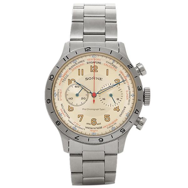 【返品OK】ゾンネ 時計 SONNE HI003IV パイロットクロノグラフ タイプ1 メンズ腕時計 ウォッチ アイボリー/シルバー