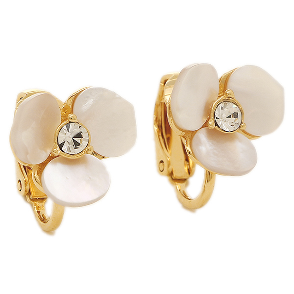 Kate Spade Accessories Wbru7884 110 Disco Clip Earrings Cream Clear