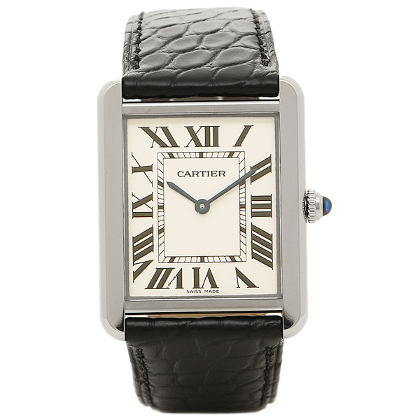 cartier watches cartier w5200003 cartier tank solo lm ss mens watch watches white silver