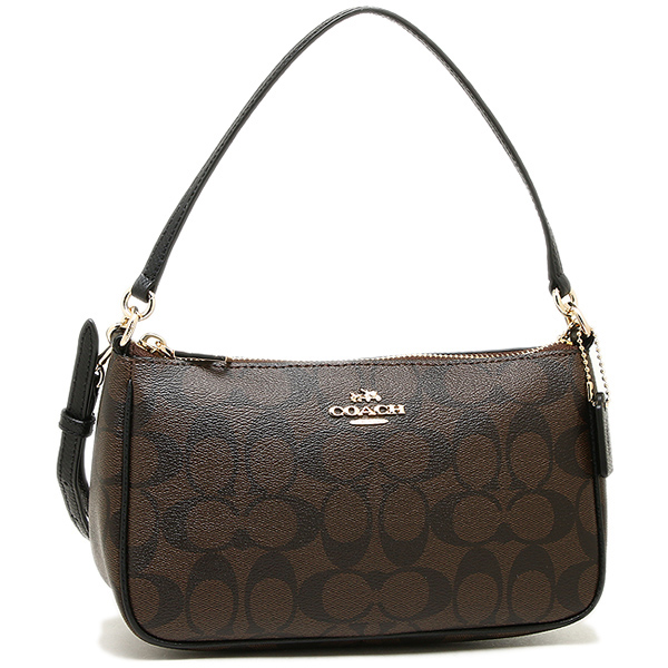 Coach Bags Outlet F36674 Imaa8 Signature Top Handle Pouch Bag 2 Way Brown Black