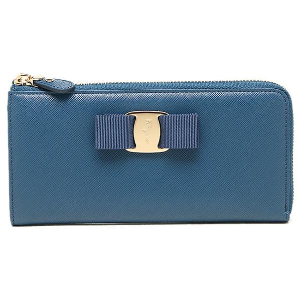 Salvatore Ferragamo 22C124 0656983 of Ferragamo long wallet dark blue