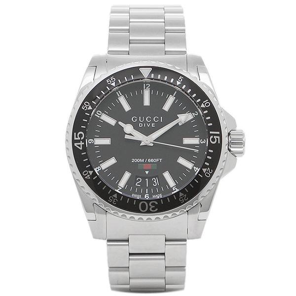 メンズ 【4時間限定ポイント10倍】グッチ ブラック GUCCI シルバー 腕時計 YA136301