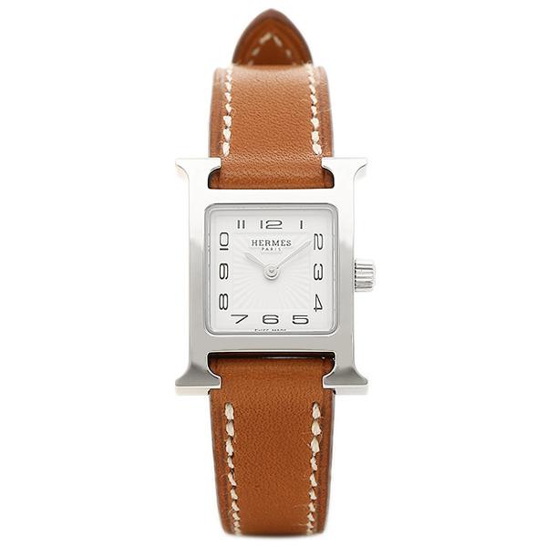 【9時間限定ポイント10倍】エルメス 腕時計 HERMES HH1.110.131/VBA W037961WW00 Hウォッチ ミニ ブラウン レディース ホワイト シルバー