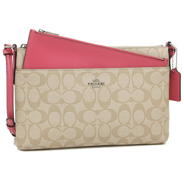 outlet for coach purses aw4y  Coach shoulder bag outlet COACH F58316 SVCYY light khaki / pink