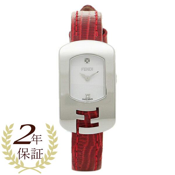 フェンディ 腕時計 レディース FENDI F300024073D1 ホワイト シルバー レッド