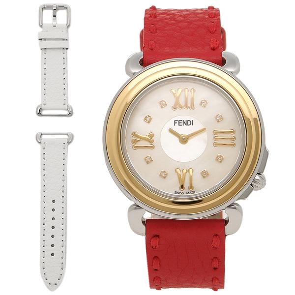 【返品OK】FENDI 腕時計 レディース フェンディ F8011345H0D1 SSN18RB ホワイト ゴールド レッド