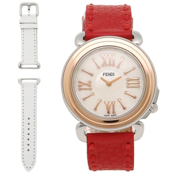 FENDI 腕時計 レディース フェンディ F8012345H0 SSN18RB7S ホワイトパール ローズゴールド レッド