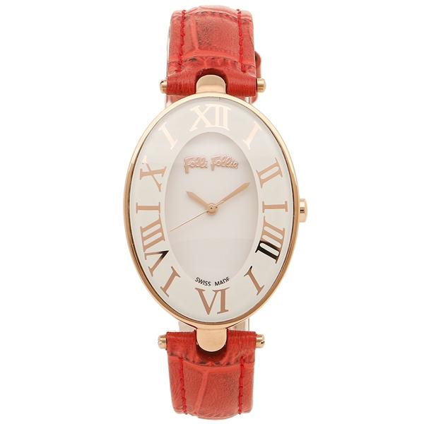 【4時間限定ポイント5倍】FOLLI FOLLIE レディース 腕時計 フォリフォリ WF14R025SPS-RE ホワイト ローズゴールド レッド