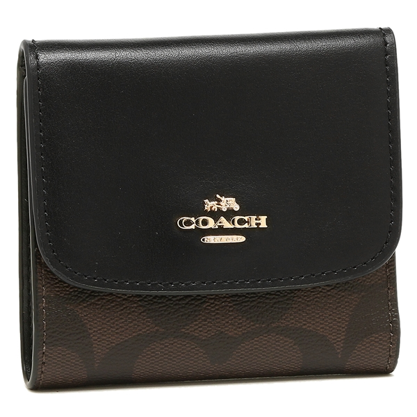 on sale 7d528 1ddb0 Three coaches fold wallet outlet Lady's COACH F87589 IMAA8 brown black