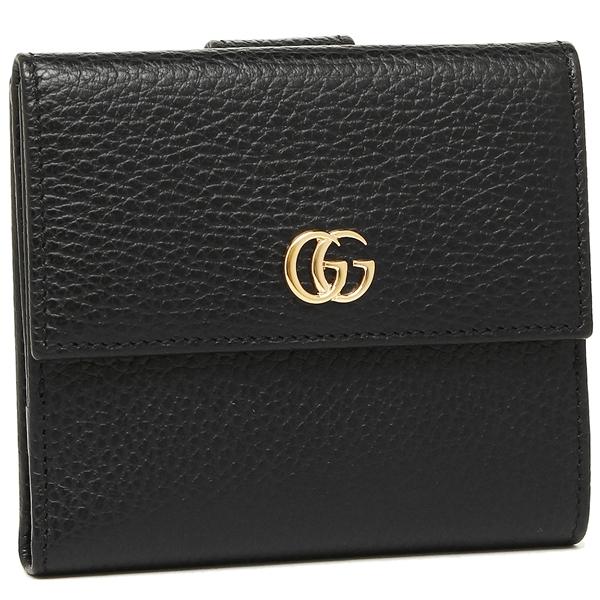 【4時間限定ポイント5倍】グッチ 二つ折り財布 レディース GUCCI 456122 CAO0G 1000 ブラック