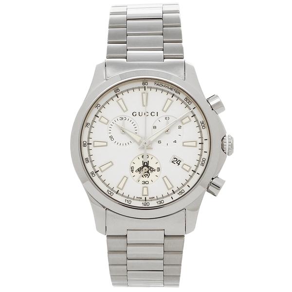 【期間限定ポイント5倍】【返品OK】グッチ 腕時計 メンズ GUCCI YA126472 ホワイト シルバー