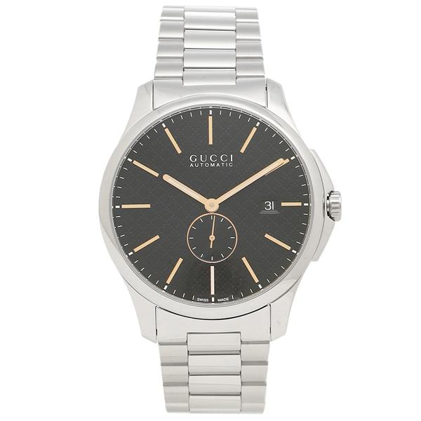 【返品OK】グッチ 腕時計 メンズ GUCCI YA126312 シルバー ブラック