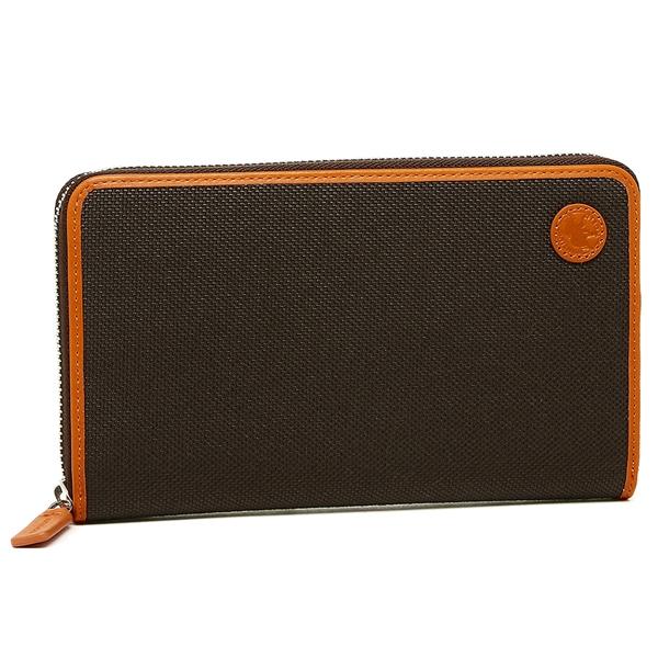 ハンティングワールド 長財布 メンズ HUNTING WORLD 676-435 ダークブラウン オレンジ