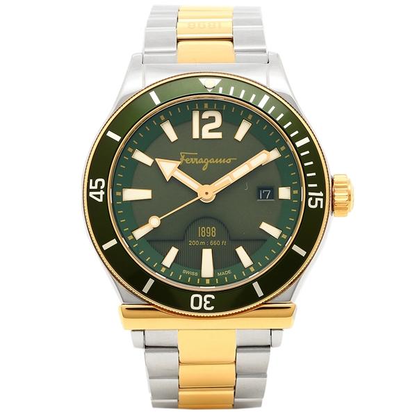 【2時間限定ポイント10倍】フェラガモ 腕時計 メンズ Salvatore Ferragamo FF3270015 シルバー/イエローゴールド/グリーン