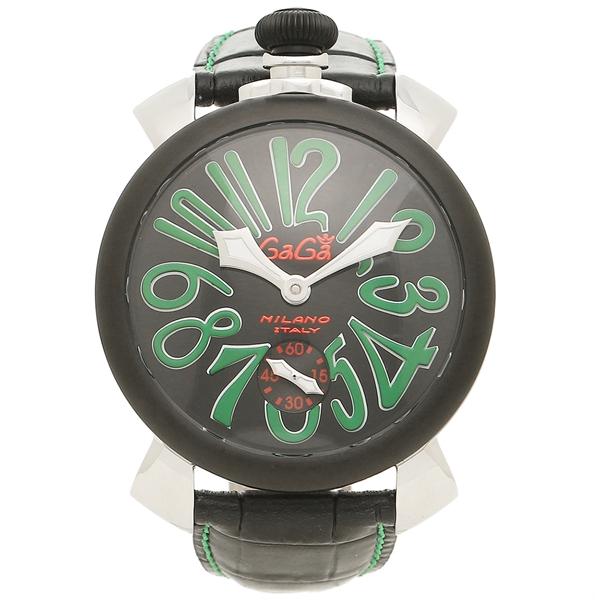 【期間限定ポイント5倍】【返品OK】ガガミラノ 腕時計 メンズ GAGA MILANO 5013.02S BLK シルバー ブラック グリーン