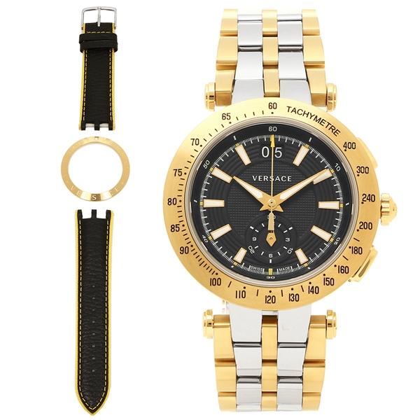 ヴェルサーチ 腕時計 メンズ VERSACE VAH020016 シルバー イエローゴールド ブラック