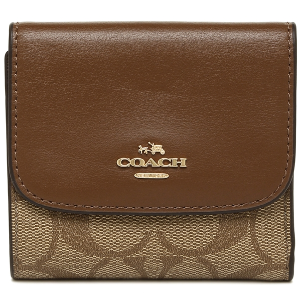 more photos 5a388 3d015 Three coaches fold wallet outlet Lady's COACH F87589 IME74 brown