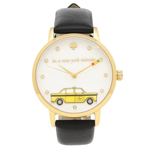 【2時間限定ポイント10倍】ケイトスペード 腕時計 レディース KATE SPADE KSW1346 ブラック イエローゴールド ホワイトパール